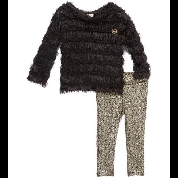 Juicy Couture Black Ruffle Tunic/Metallic Leggings